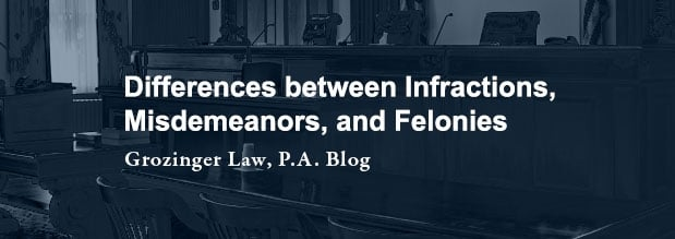 Differences between Infractions, Misdemeanors, and Felonies